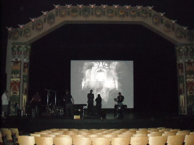 Alloy Orchestra setting up in New Mexico theater.