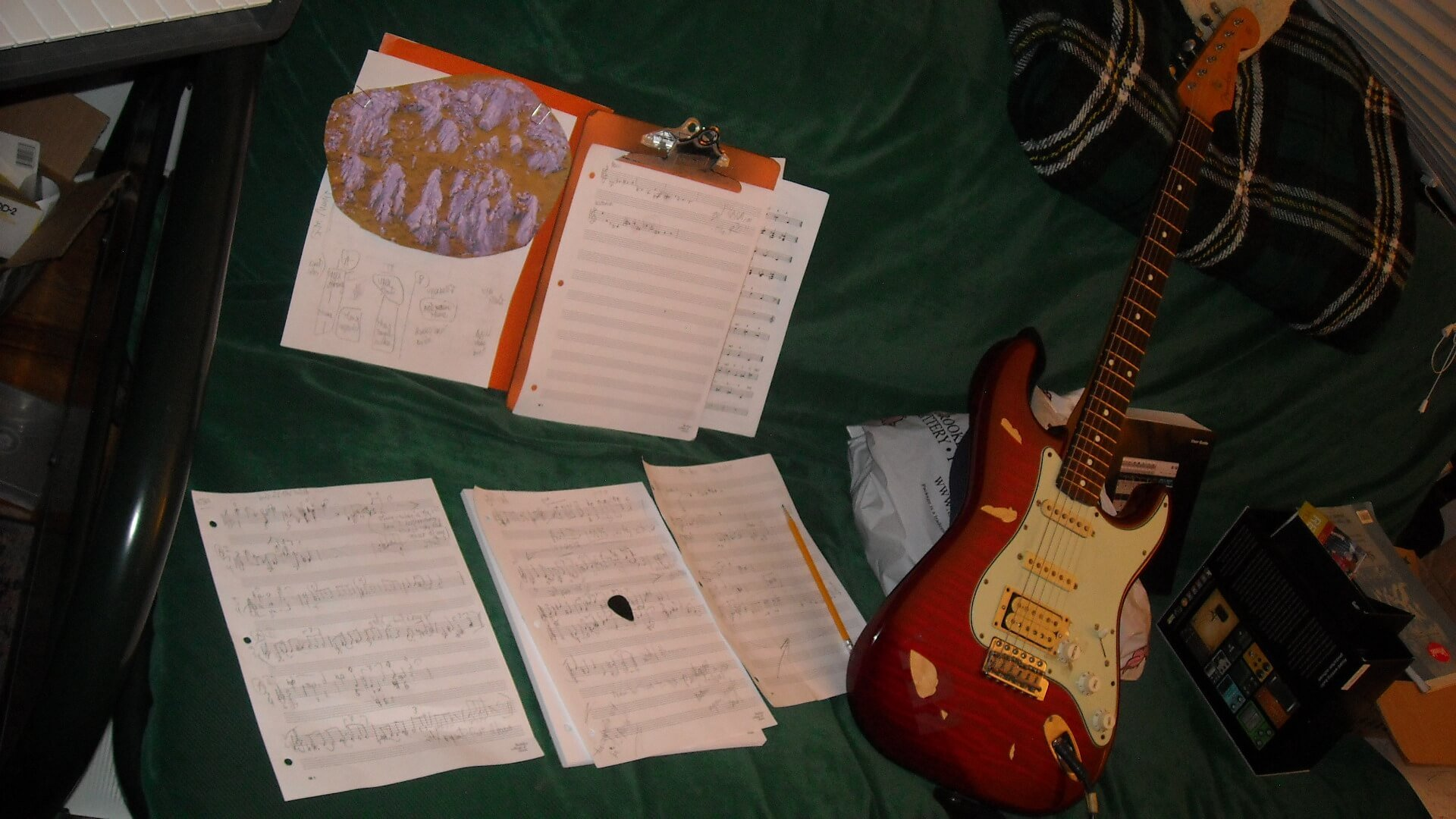 "Miller's work-table for composing ""Hillside Rock"", for solo electric guitar."