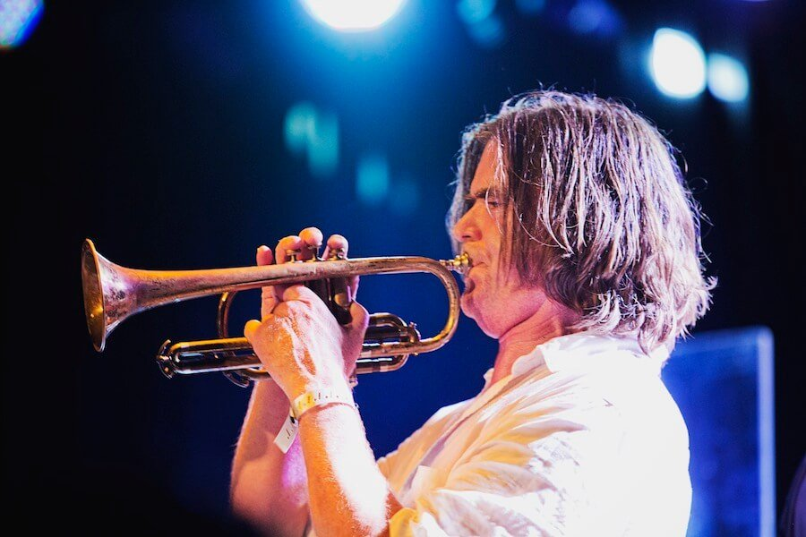 On Cornet at the Roxy in LA, Aug.2014.  Photo Michelle Shiers.